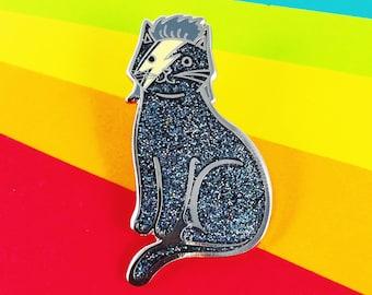 Bowie Cat Enamel Pin - Black Rainbow Glitter  Bowie Cat Pin -Glitter Cat Pin - Kitty Stardust