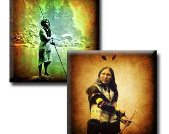 Native American Indians - 1 inch squares - Digital collage sheet