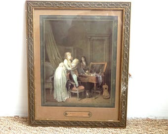 "Antique Portrait print from L. Bailly.  Framed Fashion plate.  ""The child with makeup"""