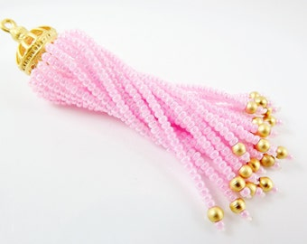 Long Baby Pink Beaded Tassel - 22k Matte Gold Plated Brass - 1PC