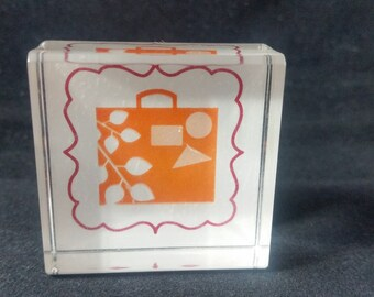 Suitcase and frame Used Rubber stamp