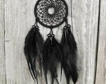 Black Car Dream Catcher // Small Black Dream Catcher // Rear Mirror Dreamcatcher //Native American Hanging Dream Catcher Wall Hanging