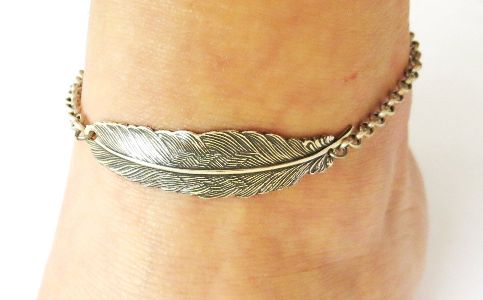 bracelet silver chain anklet minimal pin style ankle feather sterling charm