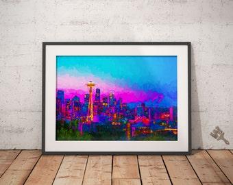 Seattle Sunset Painting Print