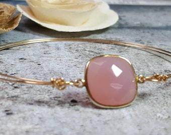 Rose Quartz Pink Glass Gold Filled Bangle Bracelet #1224