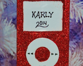 Personalized Red iPod MP3 Christmas Ornament