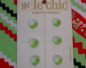 Vintage Lechic Card of 6 Diminutive Glass Buttons, Half White, Half Green