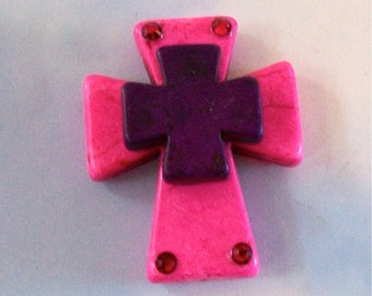 Large Stacked Hot Pink Stone Cross with Purple Square Stone Cross and Bling