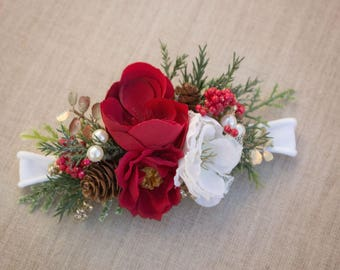 Christmas Holiday Flower Headband Red - White - Gold - Greenery - M2M made to match Well Dressed Wolf - Tutu Du Monde - Dollcake -