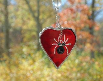 I love spiders, red heart suncatcher, stained glass heart, spider charm, spider suncatcher, silver spider, arachnid art, window decor