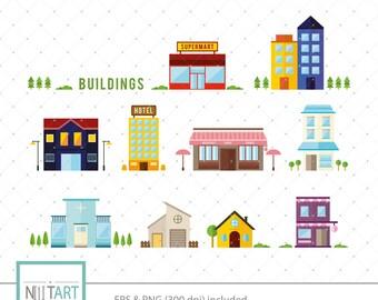 Building clip art, edifice clip art, vector graphics, digital clip art, digital images -  CL 130