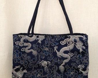 Navy Dragon Brocade Mini Handbag