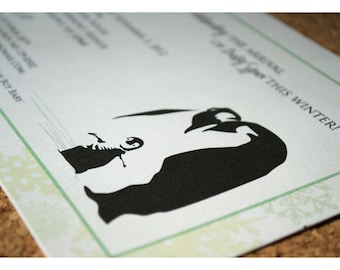 Baby Shower Party Invitations with Penguin and Snowflakes