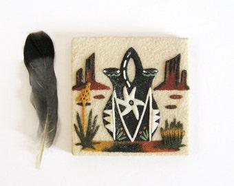 "Vintage Sand Painting - Wedding Vase - Native American Art - 4"" Square Art Tile - Southwest Decor - Neutral Home Decor Desert Landscape Art"