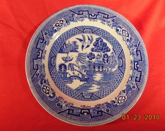 """One (1), 7 3/4"""", Salad Plate, from Ridgway, in the Willow Blue (Diamond) Pattern."""