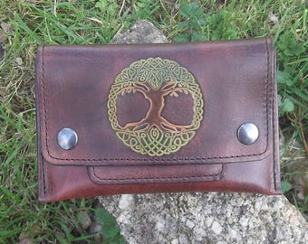 Tobacco pouch leather tree of life Celtic decor, color choice