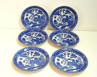 Six Vintage Blue Willow Saucers, Made In Japan