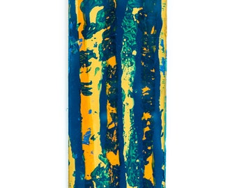 """Blue and Gold Abstract, Wall hanging 4 x 18"""""""