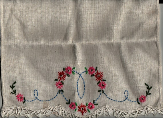 Seat back Cover with embroidered flower pattern + Vintage Textile