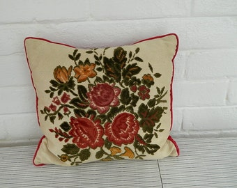Vintage Velvet and Silk Floral Cushion