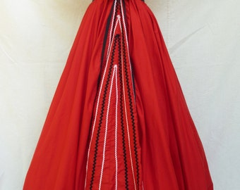 1950s Red Cotton Evening / Party dress with Puff Sleeves