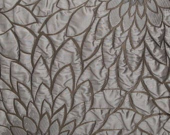 jacquard, 5 meters, flowers, METALLIC LATTE, polyester fabric