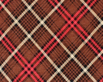 Brown Black Plaid Cotton Jersey Blend Knit Fabric **UK Seller**