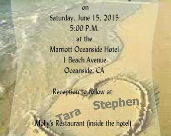Beautiful Heart in the Sand by the Ocean wedding Invitation (Digital Delivery for you to Print)