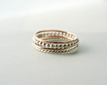 Mixed Metals Stacking Rings Rose Gold Ring Stack Sterling Silver & 14K Rose Gold Filled Skinny Rings Twist Ring Bead Ring Hammered Ring Rose