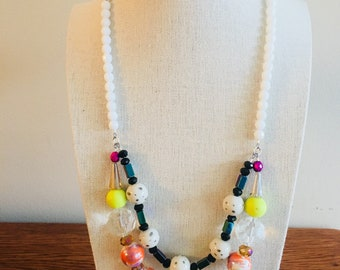 Layered Glass and Stone Necklace