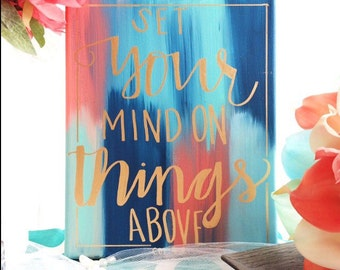 Hand Lettered Bible Verse Canvas Quotes Painting Wall Hanging Sign Blue, Orange & Gold Calligraphy Typography Wall Art Wall Decor Home Decor