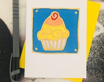 hand painted silk cupcake card
