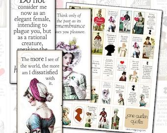Jane Austen Quotes digital collage domino sheet  1x2 inch 25 mm x 50 mm Pride & Prejudice