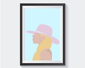 Lady Gaga Art Print, Lady Gaga Poster, Lady Gaga Music Poster, Joanne Art Print