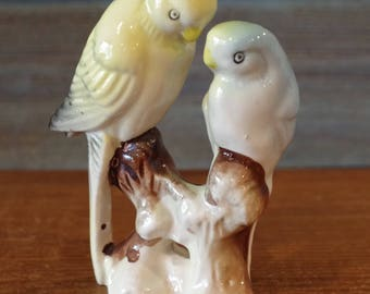 Parakeet Figurine Handpainted Yellow and Blue Parakeets Vintage Japan Parakeet Figurine