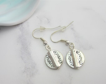 Chance Word Round Silver Plated Hook Dangle Earrings with Stoppers, Round Flat Earrings, Inspirational Word, Take a Chance