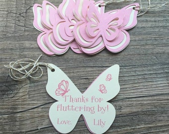 Butterfly Thank You Tags, Favor tags, Gift tags - Pink & Ivory - Personalized  - Birthday, Garden Party, Baby Shower - set of 8 tags