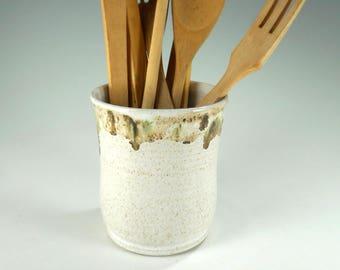 Ceramic utensil holder, utensil holder pot, stoneware silverware pot, pottery utensil holder, kitchen utensil storage jar, ceramic vase