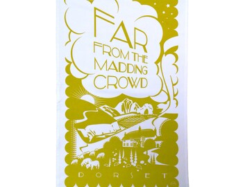 Far from the Madding Crowd tea towel inspired by Thomas Hardy's novel, green mustard