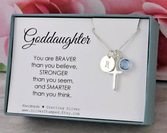 Gift for goddaughter etsy easter gift for goddaughter gift necklace sterling silver initial birthstone cross necklace god daughter negle Choice Image