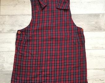 1990s Oversized Check Overall Pinafore Dress Medium