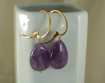 Amethyst earrings gold filled interchangeable oval leverback MLMR item 902