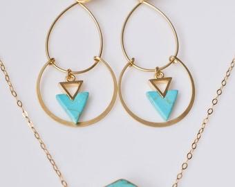 Turquoise Triangle Drop Earrings