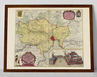 Old map of Gent, Belgium | Evergem, Lochristi, Laarne, Zele, Lokeren, De Pinte, Deinze, Gavere, Oosterzele