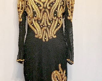 80s Pearl/ Gold and Black Glass Bead Formal Dress    VG342