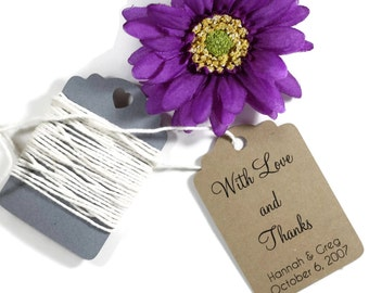Wedding Gift Tags 20pc - Personalized Kraft Wedding Favor Tags - Kraft Brown Custom Favors - With Love and Thanks - Sentimental Tags