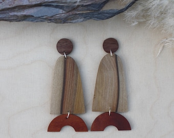 Dangle earrings, statement earrings, big earrings, wooden earrings, reclaimed wood, surgical steel, earrings, wood earrings