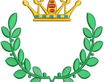 crown and laurel wreath for monogram Machine Embroidery Design