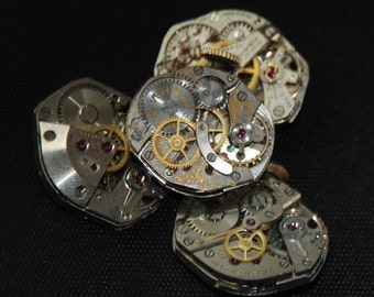 4 Vintage Watch Movements Parts Steampunk Altered Art Assemblage R 19