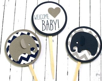 Elephant Baby Shower Cupcake Toppers - Elephant Chevron - Chevron Baby - Navy Elephant Toppers - Blue and Gray Elephant - Baby Elephant